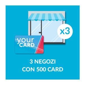 3 negozi con 500 card