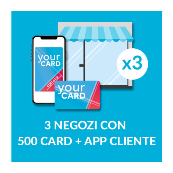 3 negozi con 500 Card e App cliente